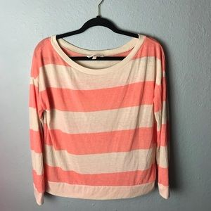 Victoria's Secret stripe long sleeve top med coral